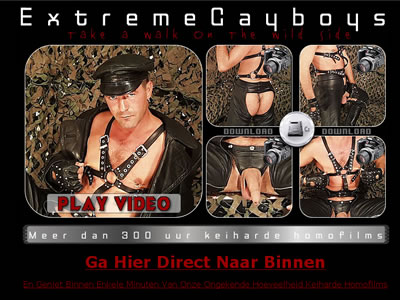 Niet van dat softe gedoe, Gewoon broek van je lijf, lul in je bek en zuigen maar! Heerlijke gay seksfilms vol extreme sex! Houd jij van Homos in darkrooms en bare back fucking? Kom snel klaar!